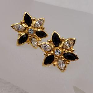 Avon Rhinestone Flower Clip On Earrings